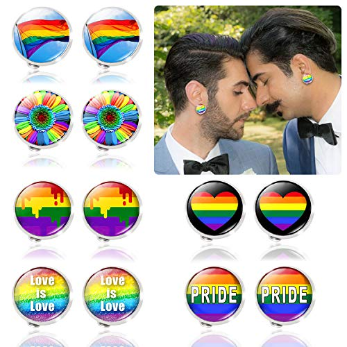HOWAF 6 pairs LGBT Rainbow Earrings Ear Clips Non Pierced for Men Women Gay Pride Month Parade Fancy Dress Accessories, Rainbow Flag Banner Flowers Heart Pride Love Is Love Earrings Ear Clips