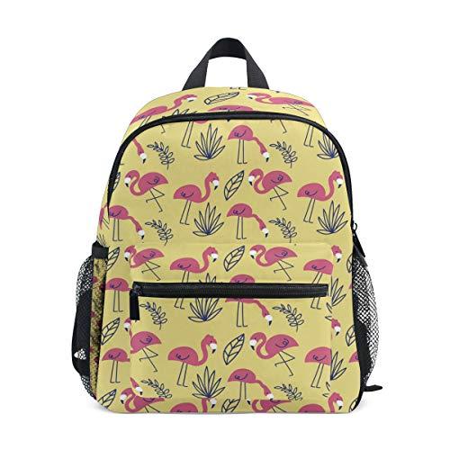 Flamingo Flamenco Sommer Muster Mini Kinder Rucksack Vorschule Kindergarten Kleinkind Tasche, Flamingos Muster mit Pflanzen 3 (Mehrfarbig) - A01E18011-A