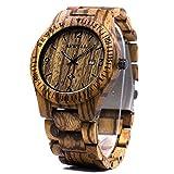 BEWELL Herren Armbanduhr Analoges Japanisches Quarzwerk mit Zebra-Holzarmband und Multifunktionsfunktionen f¨¹r Kalender und Leuchtzeiger W086B