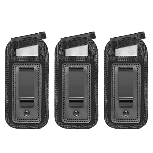 Anjilu 3-Pack Universal Magazine Holster IWB Clip Concealed Carry 9mm .40 .45 | Mag Holster for Glock 19 43 17 Sig 1911 S&W M&P | Fits Any 7 10 15 Round Clips for All Pistols | Gun Ammunition Holster