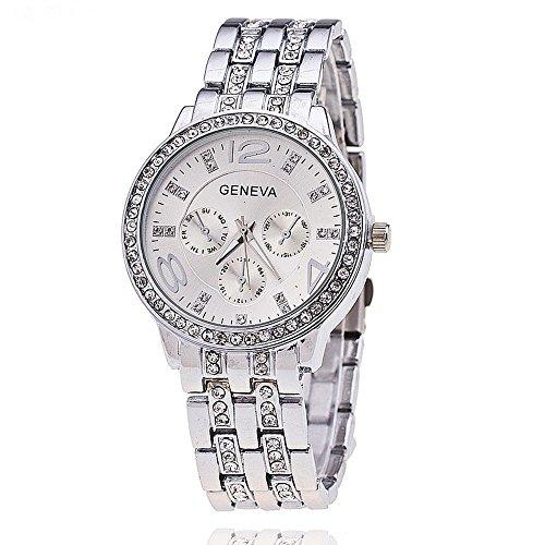 New Geneva Women Silver Geneva Stainless Steel Quartz Watch Analog Watches