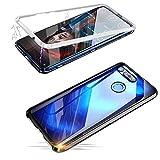 Alsoar Adsorción Magnética Funda Compatible con Huawei NEX Estuche Vidrio Templado Transparente Trasera Cubierta Marco de Metal 360 Grados Protección Carcasa (Plata)