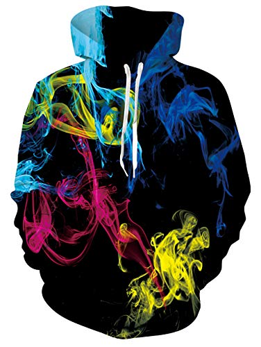TUONROAD Herren Hoodie Bunter Rauch 3D Druck Kapuzenpullover Grafik Langarm Sweatshirt Pullover Top Jumper XL