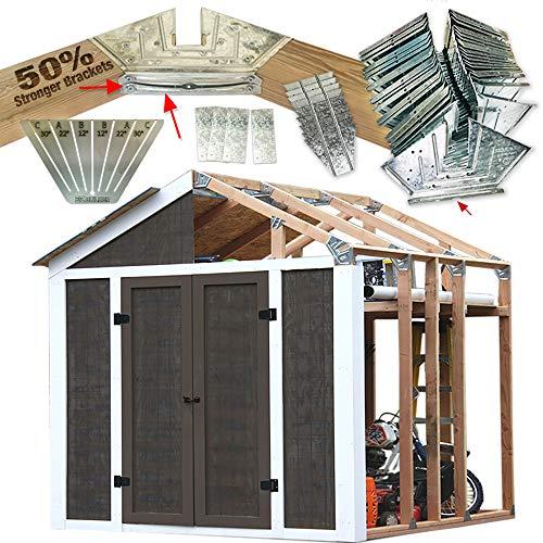 50% Structurally Stronger Truss Design Easy Shed Kit Builds 6'–14' Widths Any Length - Bonus Miter Template, Storage Shed Garage Barn Playhouse Easy Framing Kit, Peak Roof 2x4 Basic DIY EZ Framer Kit
