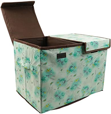 Home Candy Flowers Dual Compartment Cardboard Foldable Storage Box - Green