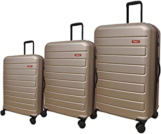 Track Solid Luggage Trolley Bag, 4 Wheels, 3 Pieces - Champagne
