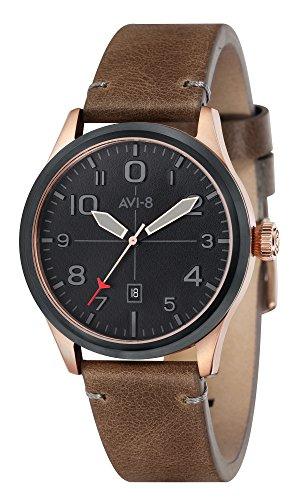 AVI-8 Men's Flyboy 43mm Leather Band IP Steel Case Quartz Watch AV-4028-0C