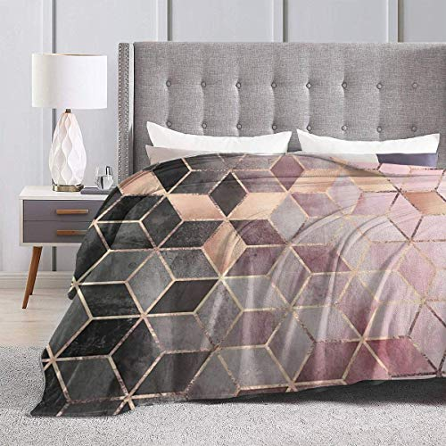 Yaxinduobao Bed Blanket Throw-Blankets for Kids Teenages Adults Pink and Grey Gradient Cubes Ultra Soft Micro Fleece Blanket Couch 50X40inches
