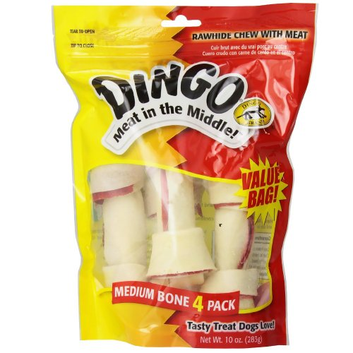 Dingo P-95007 Rawhide Bones For Medium Dogs, Chicken, Beige,4-Count