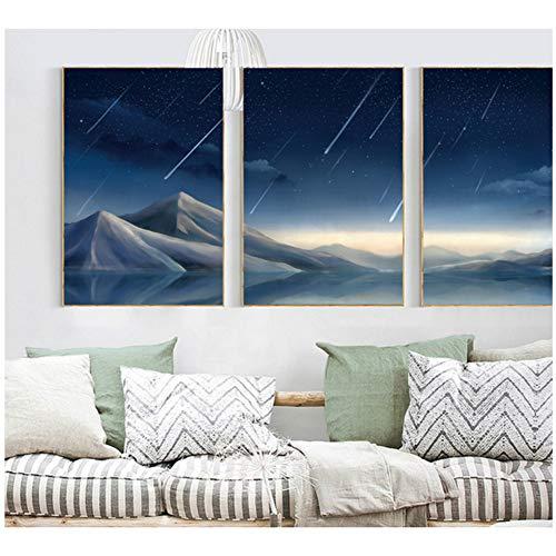sjkkad Scandinavisch modern artistiek ontwerp eenvoudige lak Meteor landschap spray schilderijen op canvas geschilderd -50x70cm No Frame