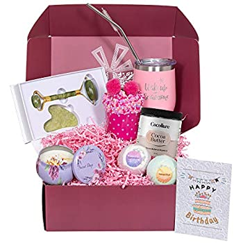 Birthday Gifts for Women - Best Relaxing Spa Gift Box Basket for Wife Mom Daughter Girlfriend Sister Best Friend Mother - Care Package Present for Her with 7 Premium & Unique Gifts  Happy Birthday