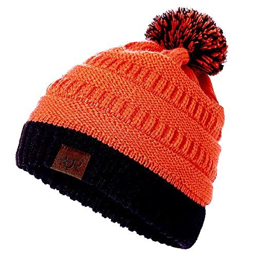 Focisa Bonnets Casquettes Hat Nouveau Bonnet pour Femme College High School Team Couleur Chapeaux Tricotés Chapeau en Tricot Pom Pom Bicolore 54Cm-60Cm Orangenoir