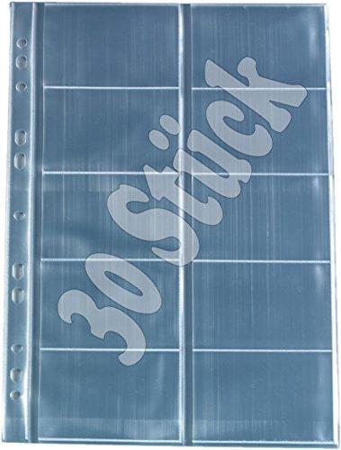 Herlitz 5894209, confezione da 10 buste porta biglietti da visita trasparenti in formato A4 con 10 scomparti, 30 pezzi, 1
