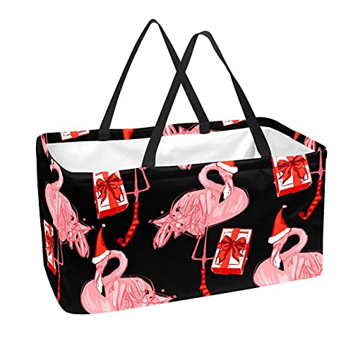 Reusable Large Grocery Bag, Heavy Duty Shopping Tote Bags with Reinforced Bottom and Handle (Christmas Hat Pink Red Gifts Flamingo Pattern Print)