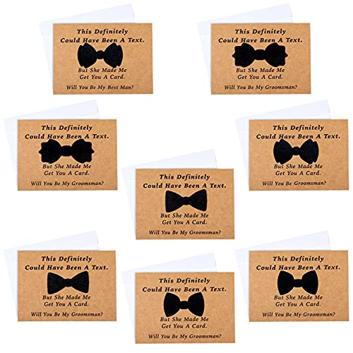 8 Pieces Groomsmen Proposal Cards with Tie and Envelope, 7 Will You Be My Groomsman Cards and 1 Will You Be My Best Man Asking Card Invitation Funny Groomsman Cards for Wedding, 7 x 5 Inch Photo #5