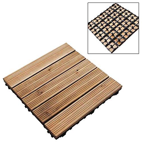 Lot de 18 dalles de terrasse autobloquantes en bois 30 x 30 cm