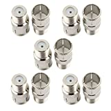 SaferCCTV Coaxial Cable Connector, F Type Push On Quick Coax Connectors Adapter for RVers Satellite Dish Cable TV Internet RV Trailer Coax Cable, 10Pcs