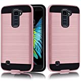 LG K10 Case, LG Premier LTE L62VL L61AL Case,Kmall [Metal Brushed Texture] High Impact Resistant Heavy Duty Hybrid Dual Layer Full-Body Shockproof Protective Cover Shell Bumper For LG K10 [Rose Gold]