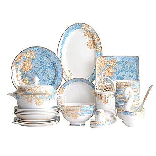HKX Vajilla de cerámica, Juego de vajilla de 60 Piezas, Juego de Platos de Porcelana con un patrón Exquisito y Equipo Completo, Estilo Palacio Europeo, Servicio para 10