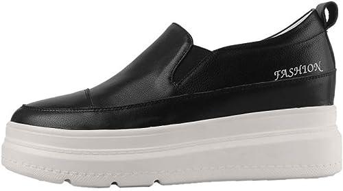 YAN Femmes Plate-Forme Chaussures Faible-Top Décontracté Décontracté Décontracté Chaussures Mocassins & Slip-Ons Mode Cuir Chaussures de Sport Chaussures d'athlétisme Blanc Noir,noir,38 8d9
