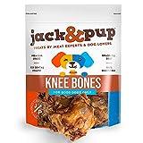 Jack&Pup Knee Bones Dog Treats - Premium Grade Roasted Dog Chew Bones (10 Pack) - Single Ingredient All Natural Gourmet Long Lasting Dog Bone- Savory Smoked Beef Flavor (10 Piece Pack)