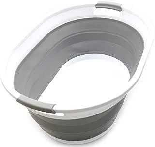 SAMMART Collapsible Plastic Laundry Basket - Oval Tub/Basket - Foldable Storage Container/Organizer - Portable Washing Tub - Space Saving Laundry Hamper (1, Grey)