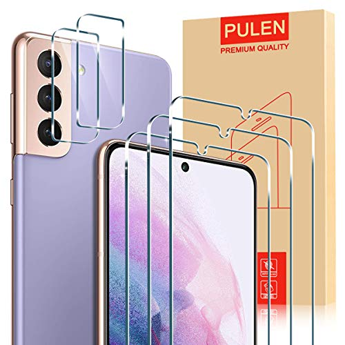 PULEN [3 Stück ] Panzerglas und [2 Stück] Kamera Panzerglas für Samsung Galaxy S21 5G Schutzfolie [9H Härte] [HD] Displayschutzfolie Klar
