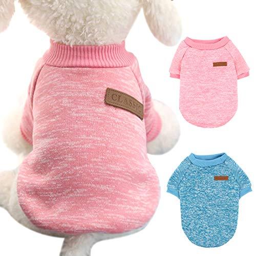 Heyu-Lotus 2 Stücke Hunde Pullover Warme Katze Kleidung hundemantel Winter Haustier Katze Pullover für Welpen und Mittlerer Hund (blau+Rosa)