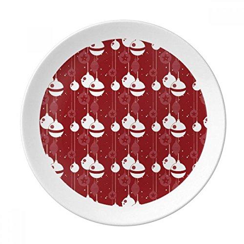 DIYthinker decorazioni di natale rosso bianco motivo decorativo della porcellana piatto di dessert da 8 pollici cena regalo a casa Diametro di 21 cm
