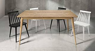 Table en bois de sapin au naturel brossé avec rallonge de cm.50; dimensions cm. 140X85; avec rallonge cm. 190x85