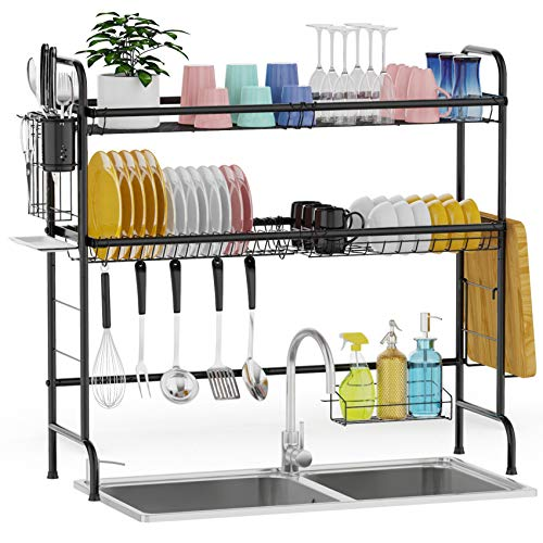 Over The Sink Dish Drying Rack, GSlife Stainless Steel 2 Tier Dish Rack Above Kitchen Sink Shelf Durable Dish Drainer, Black