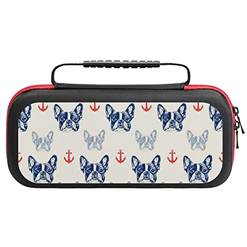 French Bulldog And Anchor Switch Carrying Case Protective Tote Bag Hard Shell Travel Carry Cover Pouch For Nintendo Switch