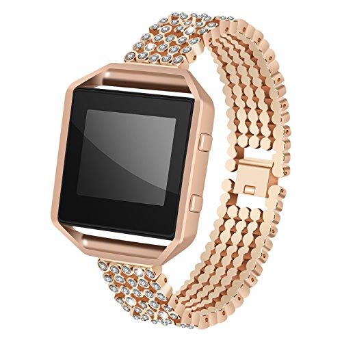 Für Fitbit Blaze Tragegurt mit Rahmen, angolf Fitbit Blaze Edelstahl Strass Smart Watch Band verstellbar Ersatz Armband Schnalle Handschlaufe für Fitbit Blaze Fitness Zubehör rose gold