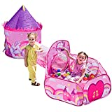 JOYIN Girls Unicorn Princess Pink Castle Play Tent with Pop...