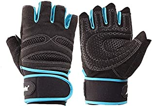 Gym Training Sports Fitness Weightlifting Wrist Wrap Gloves (L,black/blue)