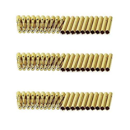 OliYin 30 Paar 2,0mm Vergoldet Männlichen und Weiblichen Kugel Bananenstecker Stecker für DIY RC Batterie ESC Motor