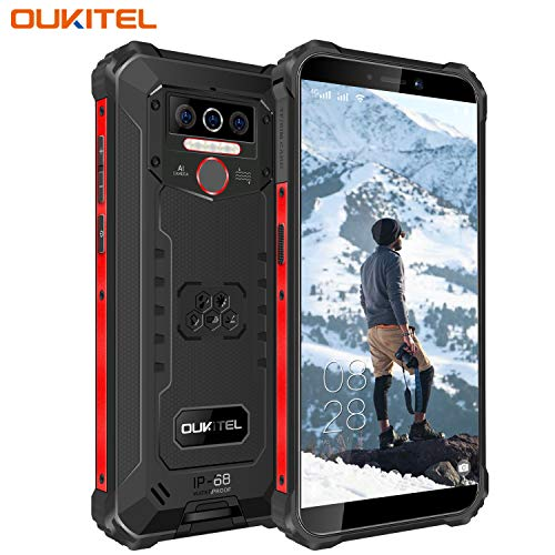 OUKITEL WP5 (2020) Outdoor Smartphone Ohne Vertrag, 4G Dual SIM IP68 wasserdichter,8000mAh Akku Robustes Handy, 4GB 32GB Android 10 Global Version 5,5 Zoll Triple Kamera Face/Fingerprint ID (Schwarz)