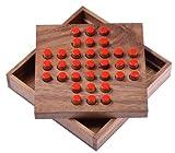 Solitär Gr. L - Solitaire - Steckspiel - Denkspiel - Knobelspiel - Geduldspiel - Logikspiel aus Holz - rote Stecker