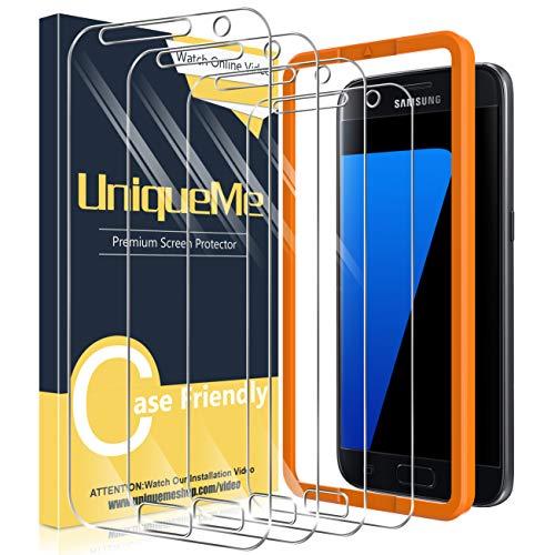UniqueMe [4 Stück] Schutzfolie für Samsung Galaxy S7 Panzerglas mit Installationswerkzeug, [Einfache Installation] Gehärtetem Glas Galaxy S7 Displayschutzfolie.