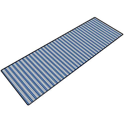 Abstract Bath Mats Picnic Table Style Simplistic Two Colored Bands Kitchen Overlapping Motif Non-Slip Floor Mat for Entry Patio