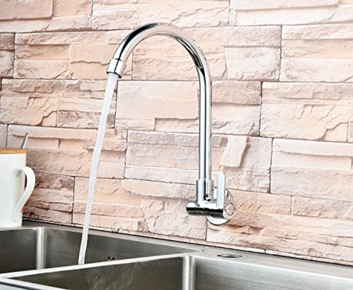 KHSKX-The Copper Cold Dishes Basin Mixer Wall Mounted Cuisine Basin Mixer Click Cold Bend The Kitchen Faucet