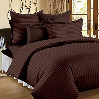 Fresh From Loom™ 100% Cotton Soft Satin Bedsheet Comfort Bed-Sheet with 300 Tc King Bed Size Double Bedsheet with 2 Pillow Covers - (King Size Bedsheet Double (100 x108 inch), Color Coffee