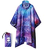 Hoodie Raincoat Poncho Active Outdoor Windbreaker Jacket With Front Pocket(Universe Pattern)