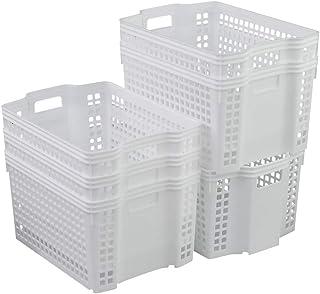 Xowine Ensemble de 6 paniers de rangement en plastique empilables blancs, organisateur de paniers de rangement empilables