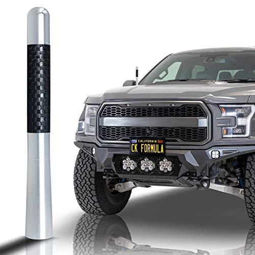 "CK FORMULA 4.7"" Silver Truck Antenna - Carbon Fiber Screw Type Automotive Antenna Replacement, AM/FM Radio Compatibility, Aluminum and Internal Copper Coils, Car Wash Safe, Universal Fit, 1 Piece"