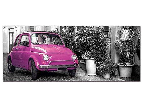 GRAZDesign Wandbild Schwarz Weiß Pink Retro Auto in Italien, Acrylglasbild Bilder Aus Acryl Fotografie Fotodruck, Dekoration Wohnung modern / 125x50cm