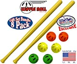 WIFFLE 32' Bat & Green, Orange & Yellow Baseballs Matty's Toy Stop Set Bundle - 8 Pack