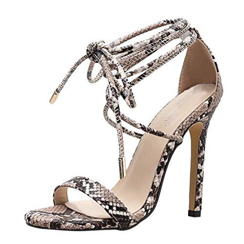 Yaoni Frauen-Dame-Gesellschaf Sexy Sandalen Stiletto Pumps, Schlangenleder Verband Riemchen High Heels Breite Breite Kleid-Schuhe (Color : Black, Size : 38 EU)
