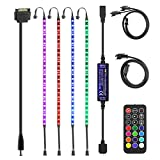 ALITOVE RGB LED Strip for PC Computer Case DIY Lighting, 4X 16in/40cm 24LEDs Flexible Bar Lights Full Kit with RF Remote Controller, SATA Power Cable, 12 Static Colors, 19 Dynamic Modes, 96 LEDs