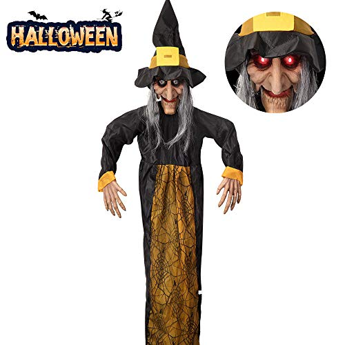 """VATOS 57""""/145cm Halloween Hanging Decoration Scary Talking Witch with Glowing Eyes, Creepy Animated Halloween Witch Deco Prop"""